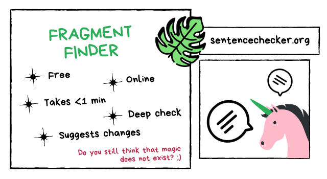 sentence fragment finder online