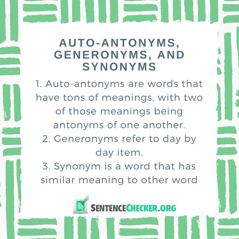 Auto-antonyms generonyms synonyms
