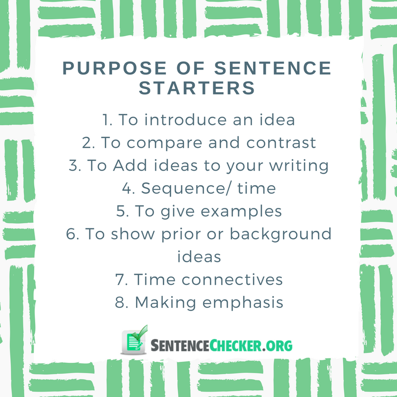 purpose of sentence starters