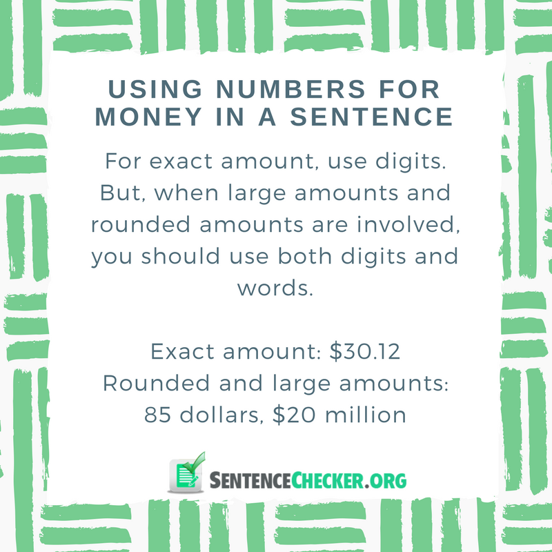 rule for writing money in sentence